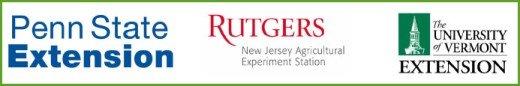 Logos for Penn State Extension, Rutgers New Jersey Agricultural Experiment Station, and The University of Vermont Extension