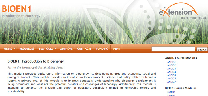 Bioenergy module screen capture